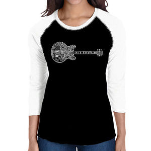 Women's Raglan Baseball Word Art Tee BLUES LEGENDS